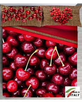 Lenzuola Copriletto Frutta Ciliegie Matrimoniale Made in Italy Cotone