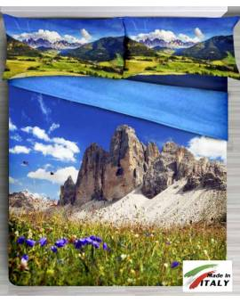 Copriletto Montagne Dolomiti con Stampa Digitale effetto 3D Made in Italy