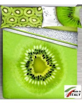 Lenzuola Copriletto con Stampa Digitale effetto 3D FRUTTA kiwi Made in Italy