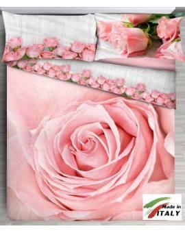 Copriletto Stampa effetto 3D Fiori Rosa Made in Italy 100% Cotone