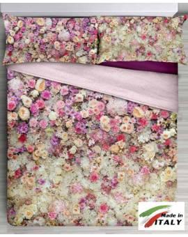 Parure Lenzuola Copriletto Fiori Made in Italy stampa Digitale per letto 2 Piazze