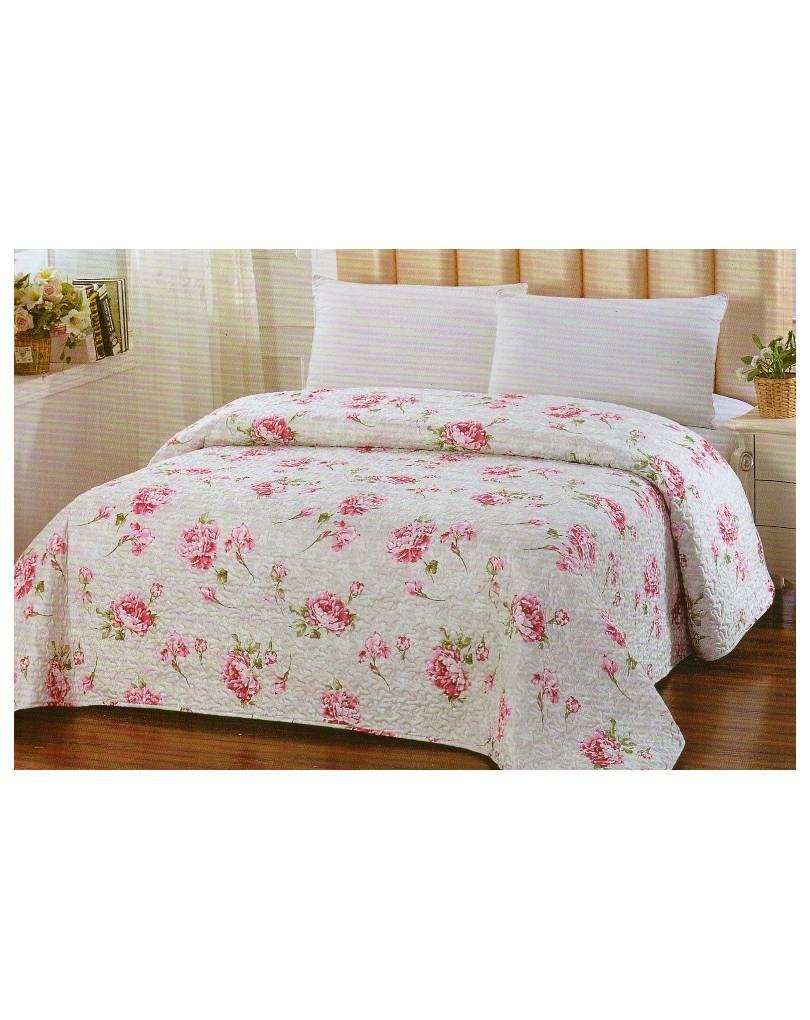 Trapuntino estivo letto singolo fiori peonia floreale rosa - Copriletto singolo ...