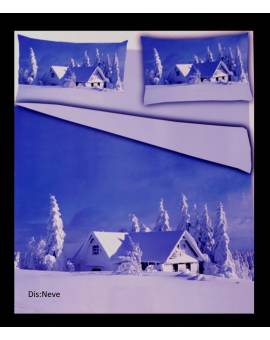 Parure Copripiumino sacco piumino letto matrimoniale paesaggio neve
