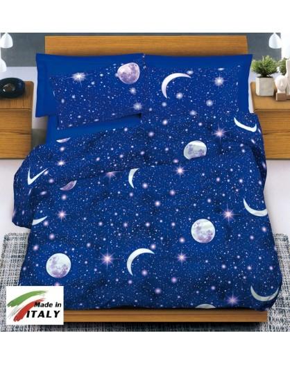 Copripiumino Luna Stelle letto Matrimoniale 2 piazze cotone Made in Italy