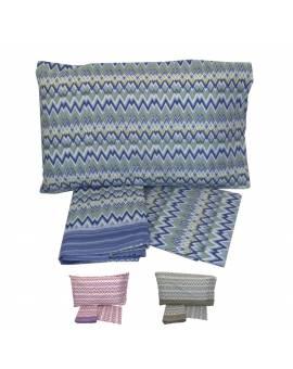 Completo lenzuola letto matrimoniale Puro cotone 100% righe tipo Missoni Stock