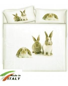 Copripiumino Letto matrimoniale Coniglietti Conigli Beige Made in Italy