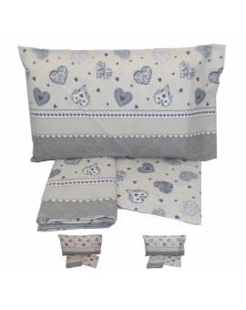 Completo lenzuola letto una piazza fantasia cuori Puro cotone 100% Sottocosto