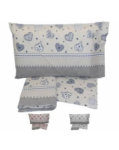 Completo lenzuola letto singolo Puro cotone 100% fantasia Cuori
