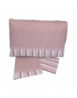 Completo lenzuola letto una piazza con Pois Puro cotone 100% Stock Sottocosto