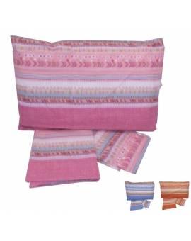 Completo lenzuola letto una piazza con Righe colorate Puro cotone 100% Stock
