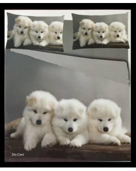 Parure Copripiumino sacco letto singolo microfibra cuccioli cani
