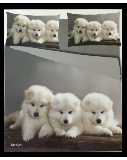 Parure Copripiumino sacco letto matrimoniale microfibra cuccioli cani