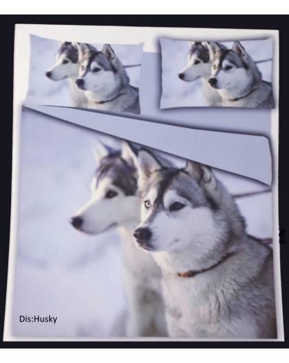 Parure Copripiumino sacco letto singolo microfibra Cane Husky