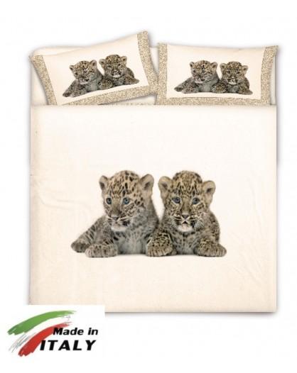 Copripiumino matrimoniale 100% cotone cuccioli tigrotti Made in Italy