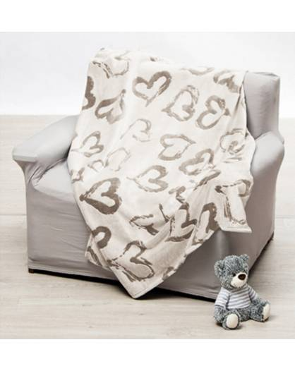 Coperta Plaid matrimoniale tipo lana merinos stile cuori shabby grigio