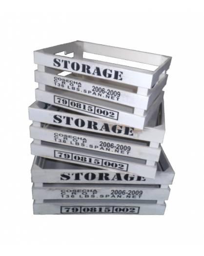 Idea regalo Cassette in legno porta Oggetti SET 3 pezzi