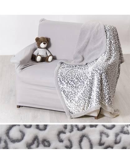 Coperta matrimoniale morbida PLAID tipo lana merinos effetto pelo Leopardata