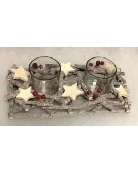Portacandela centrotavola natalizio in legno IDEA REGALO chic raffinato