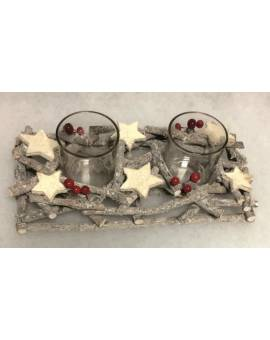 Portacandela centrotavola natalizio in legno IDEA REGALO