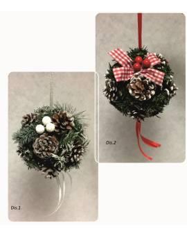 Palla Natalizia Addobbo di Natale sfera pigne da appendere idea regalo