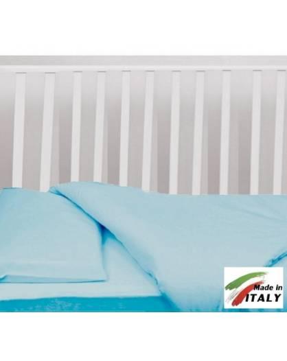 Completo Lenzuola Letto Baby per Lettino Prodotto in Italia AZZURRO