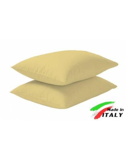 Coppia Federe Guanciale Federe Maxi Puro Cotone Made in Italy GIALLO