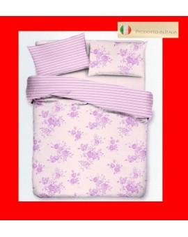 Parure Sacco COPRIPIUMINO letto matrimoniale piume fiore rose viola cotone 100%