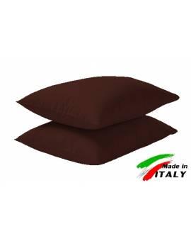 Coppia Federe Guanciale Federe Maxi Puro Cotone Made In Italy Moro