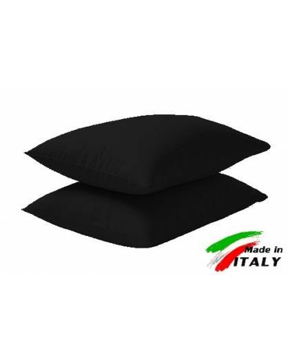 Coppia Federe Guanciale Federe Maxi Puro Cotone Made in Italy NERO