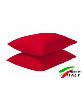 Coppia Federe Guanciale Federe Maxi Puro Cotone Made In Italy Rosso