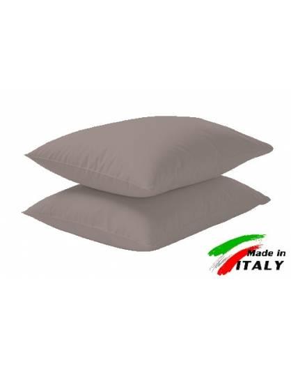Coppia Federe Guanciale Federe Maxi Puro Cotone Made in Italy TORTORA