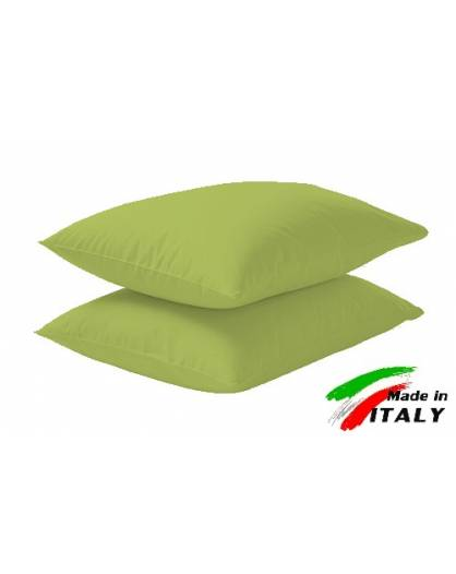 Coppia Federe Guanciale Federe Maxi Puro Cotone Made in Italy VERDE-ACIDO