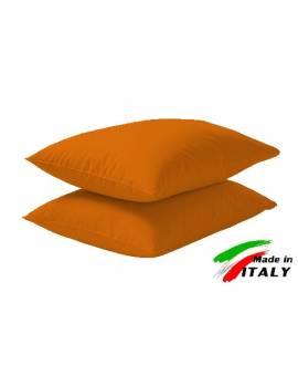 Coppia Federe Guanciale Federe Standard Made in Italy Puro Cotone ARANCIO