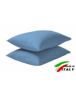 Coppia Federe Guanciale Federe Standard Made In Italy Puro Cotone Azzu