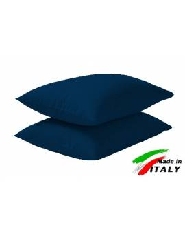 Coppia Federe Guanciale Federe Standard Made In Italy Puro Cotone Blu