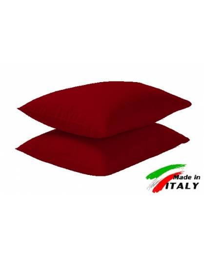 Coppia Federe Guanciale Federe Standard Made in Italy Puro Cotone BORDEAUX