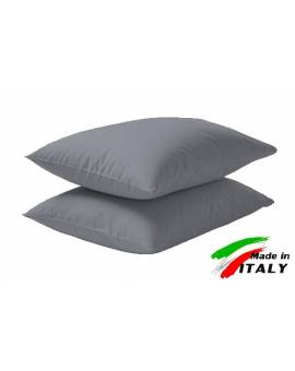 Coppia Federe Guanciale Federe Standard Made In Italy Puro Cotone Grig