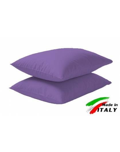 Coppia Federe Guanciale Federe Standard Made in Italy Puro Cotone LILLA