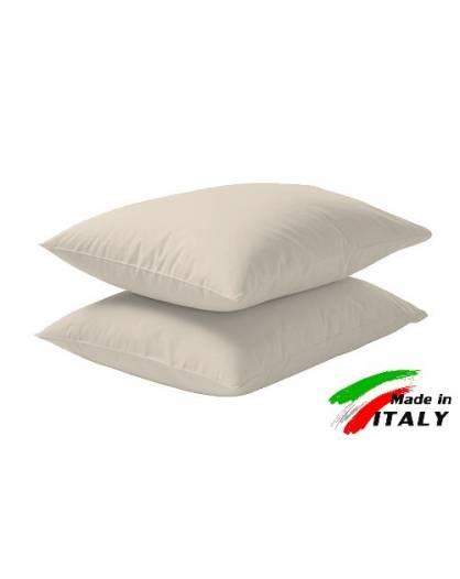 Coppia Federe Guanciale Federe Standard Made in Italy Puro Cotone PANNA