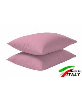 Coppia Federe Guanciale Federe Standard Made In Italy Puro Cotone Rosa