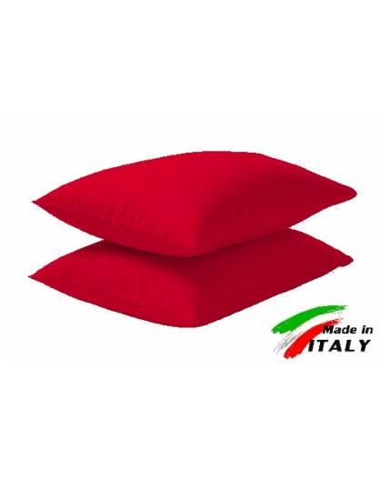 Coppia Federe Guanciale Federe Standard Made in Italy Puro Cotone ROSSO