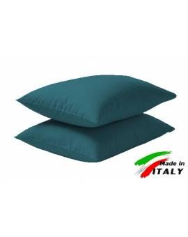 Coppia Federe Guanciale Federe Standard Made in Italy Puro Cotone TURCHESE