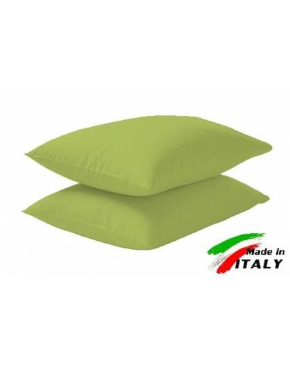 Coppia Federe Guanciale Federe Standard Made in Italy Puro Cotone VERDE-ACIDO