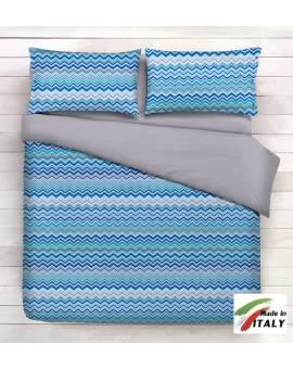 Coppia Federe Guanciale Federe Standard Made in Italy Percalle di Cotone BAIA-BLU
