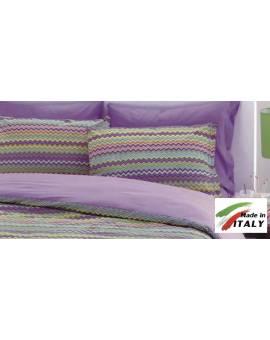Coppia Federe Guanciale Federe Standard Made in Italy Percalle di Cotone BAIA-LILLA