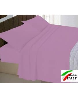 Completo Lenzuola Letto Francese Prodotto In Italia Cotone Ciclamino