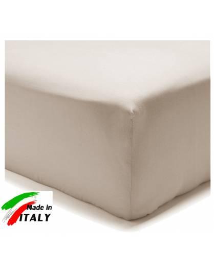 Lenzuolo Angolo con Elastici Matrimoniale Lenzuolo Made in Italy Cotone TORTORA