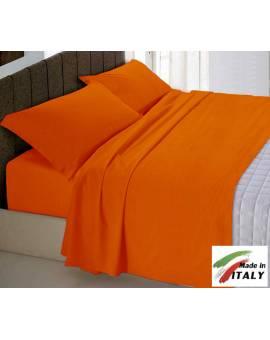 Completo Lenzuola Letto Matrimoniale Made In Italy Puro Cotone Arancio
