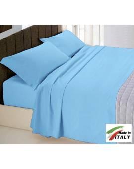 Completo Lenzuola Letto Matrimoniale Made In Italy Puro Cotone Azzurro
