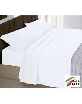 Completo Lenzuola Letto Matrimoniale Made In Italy Puro Cotone Bianco